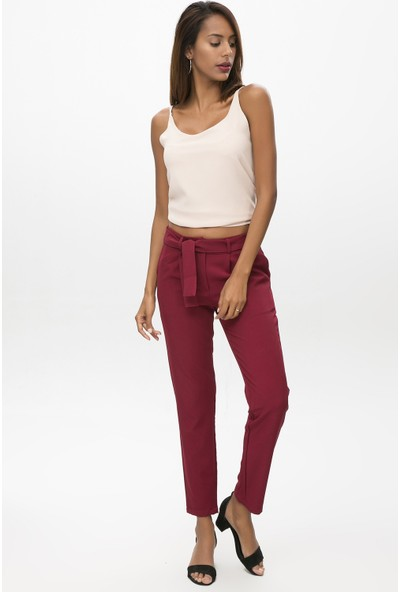 New Laviva Bordo Kadın Kuşaklı Pantolon