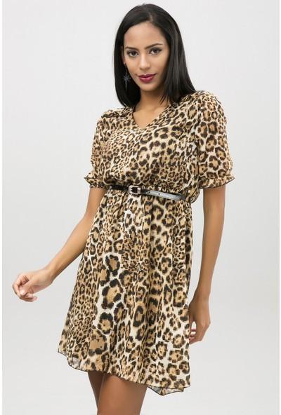 New Laviva Siyah Kadın Leopar Desenli Şifon Elbise