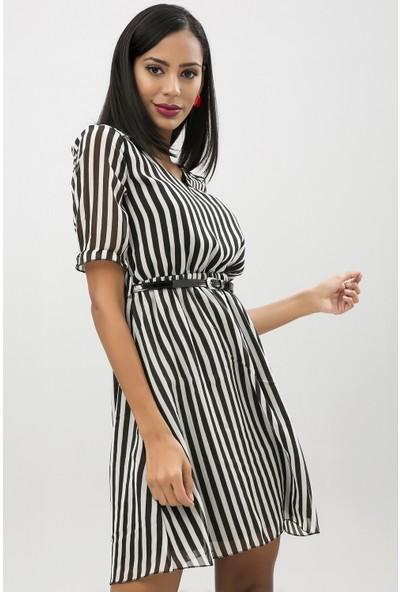 New Laviva Siyah Kadın Çizgi Desenli Şifon Elbise