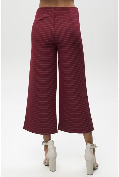 New Laviva Bordo Kadın Çizgili Kısa Paça Bol Pantolon