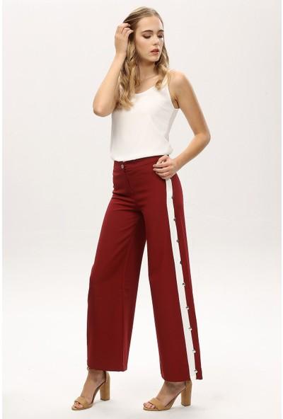 New Laviva Bordo Kadın Yanları Şeritli Bol Paça Yüksek Bel Pantolon