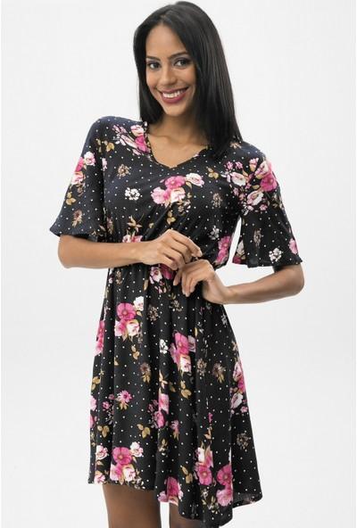 New Laviva Siyah Kadın Çiçek Desenli V Yaka Mini Elbise