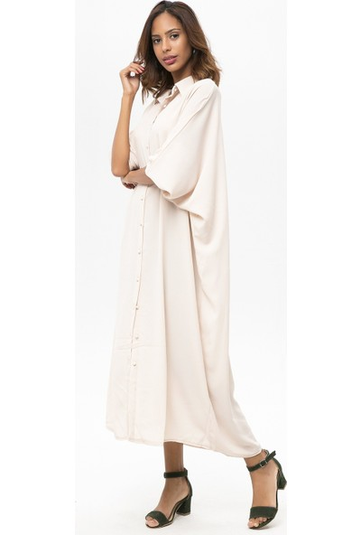 New Laviva Krem Kadın Uzun Salaş Elbise