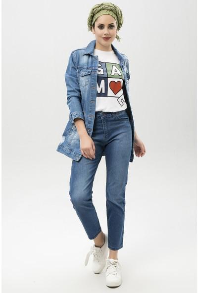 New Laviva Mavi Kadın Klasik Kot Pantolon