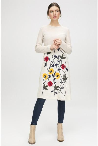 New Laviva Krem Kadın Çiçek Desenli Triko Elbise