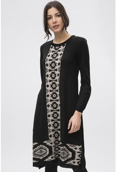 New Laviva Siyah Kadın Etnik Desenli Uzun Tunik