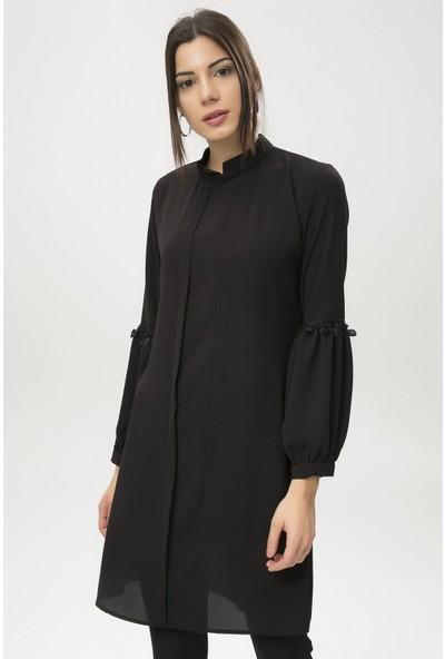 New Laviva Siyah Kadın Yarım Kol Tunik