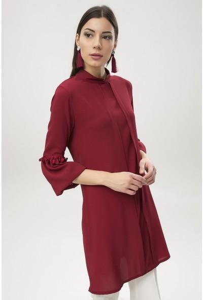 New Laviva Bordo Kadın Yarım Kol Tunik