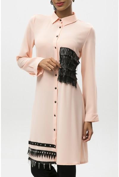 New Laviva Pudra Kadın Saçaklı Gömlek Elbise