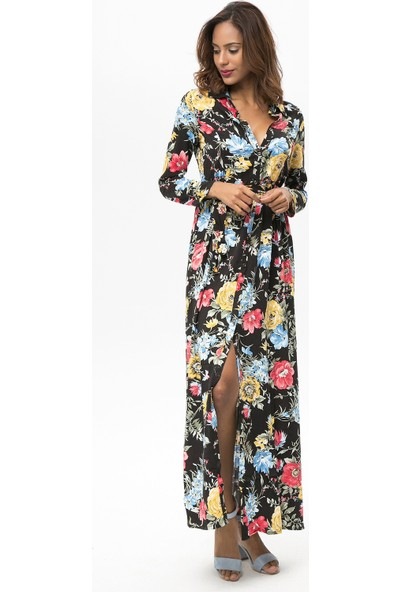 New Laviva Siyah Kadın Çiçek Desenli Uzun Gömlek Elbise