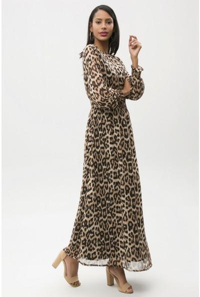 New Laviva Leopar Desen Kadın Uzun Şifon Elbise