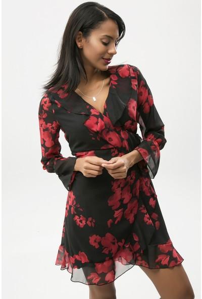 New Laviva Siyah Kadın Çiçekli Kısa Şifon Elbise