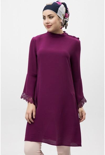 New Laviva Mor Kadın Sıfır Yaka Mini Elbise