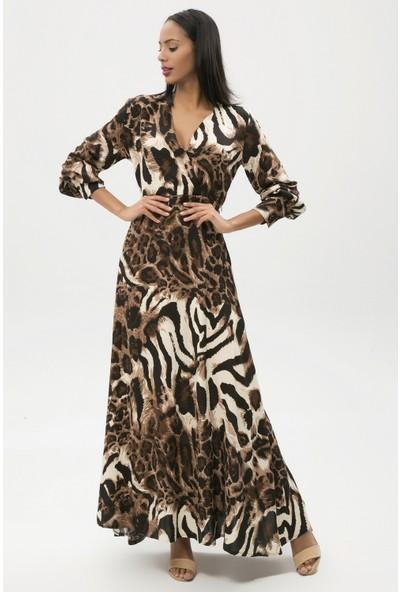 New Laviva Siyah Kadın Uzun Bilekte Elbise