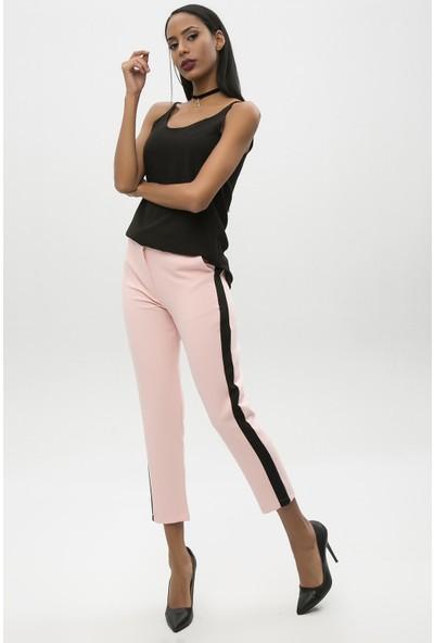 New Laviva Pudra Kadın Yanı Şeritli Pantolon