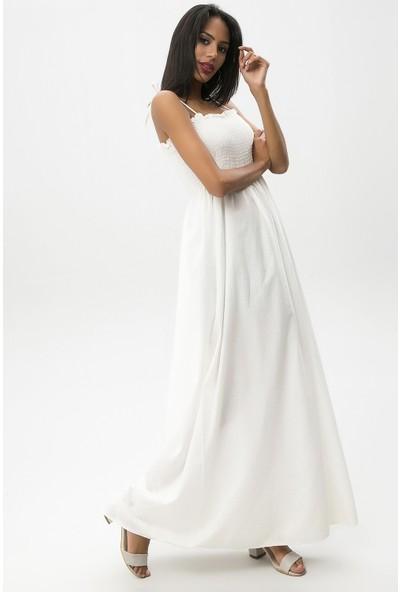 New Laviva Ekru Kadın Askılı Uzun Elbise