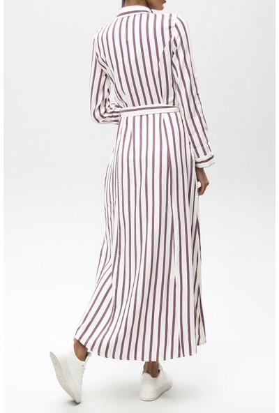 New Laviva Mürdüm Kadın Çizgili Uzun Elbise
