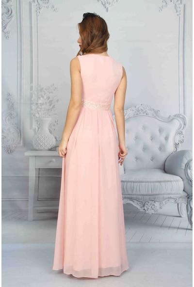 Moda Labio Dantel Detaylı Pudra Elbise