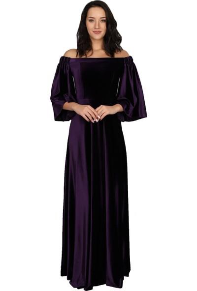 Moda Labio Düşük Omuz Mor Kadife Elbise