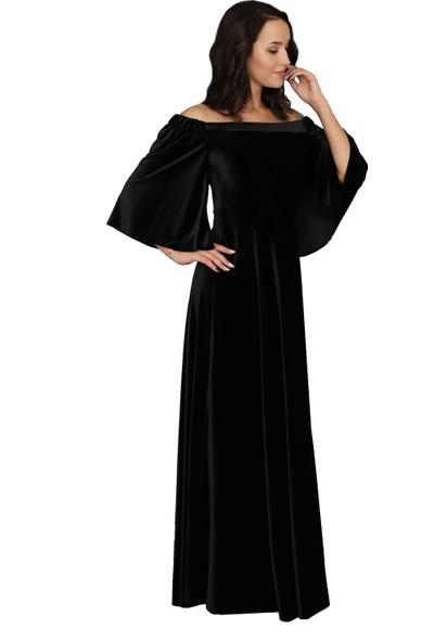 Moda Labio Düşük Omuz Siyah Kadife Elbise
