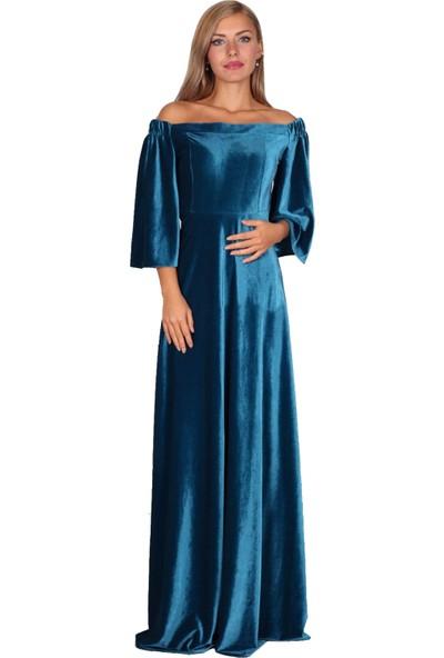 Moda Labio Düşük Omuz Petrol Mavi Kadife Elbise