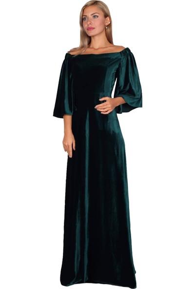 Moda Labio Düşük Omuz Zümrüt Yeşili Kadife Elbise