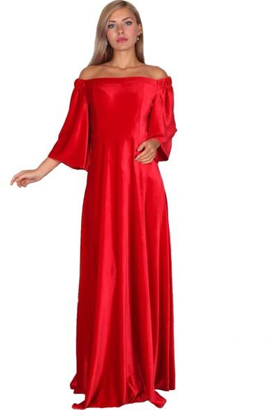 Moda Labio Düşük Omuz Kırmızı Kadife Elbise