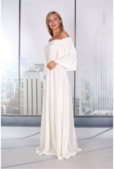 Moda Labio Düşük Omuz Beyaz Kadife Elbise