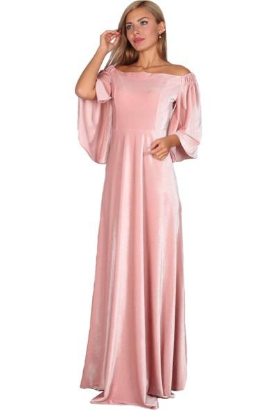 Moda Labio Düşük Omuz Pudra Kadife Elbise