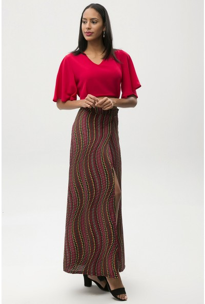 New Laviva Siyah Kadın Derin Yırtmaçlı Desenli Uzun Etek