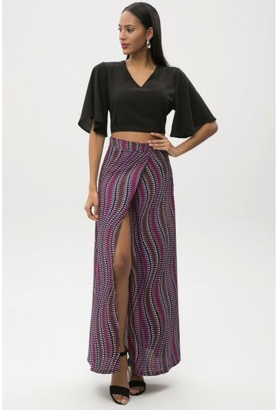 New Laviva Lacivert Kadın Derin Yırtmaçlı Desenli Uzun Etek