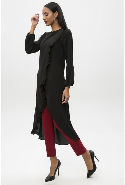 New Laviva Siyah Kadın Fırfırlı Uzun Boy Tunik