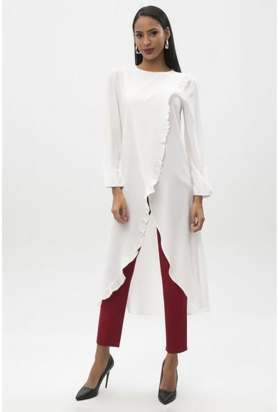 New Laviva Ekru Kadın Fırfırlı Uzun Boy Tunik