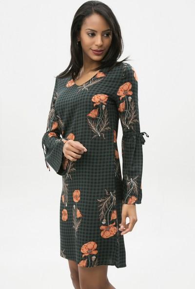 New Laviva Haki Kadın Çiçek Desenli V Yaka Mini Elbise