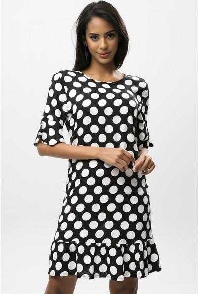 New Laviva Siyah Kadın Puantiye Yarım Kol Mini Elbise