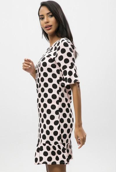 New Laviva Pudra Kadın Puantiye Yarım Kol Mini Elbise