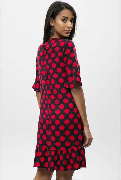 New Laviva Kırmızı Kadın Puantiye Yarım Kol Mini Elbise