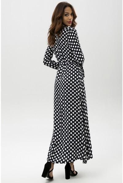 New Laviva Lacivert Kadın Puantiye Desenli Uzun Gömlek Elbise