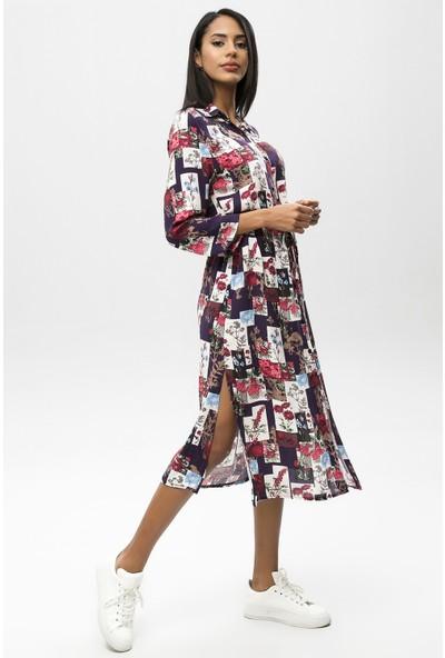 New Laviva Siyah Kadın Desenli Midi Boy Gömlek Elbise