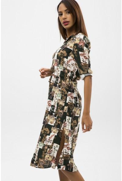 New Laviva Haki Kadın Desenli Midi Boy Gömlek Elbise