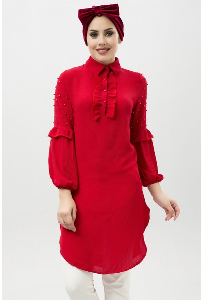 New Laviva Kırmızı Kadın Fırfırlı Tunik