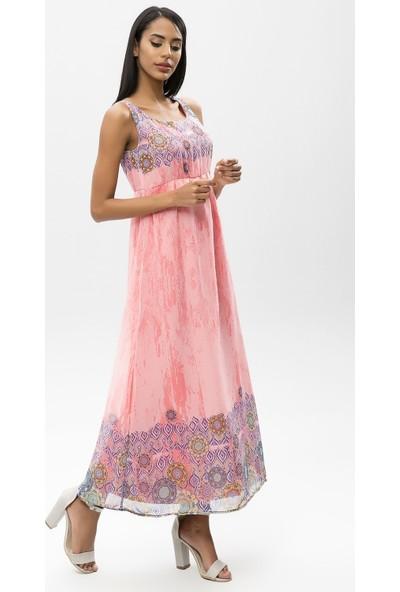 New Laviva Somon Kadın Askılı Uzun Elbise
