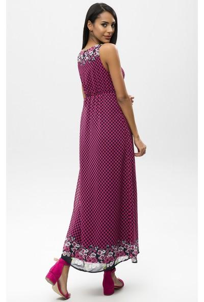 New Laviva Lacivert Kadın Askılı Uzun Elbise