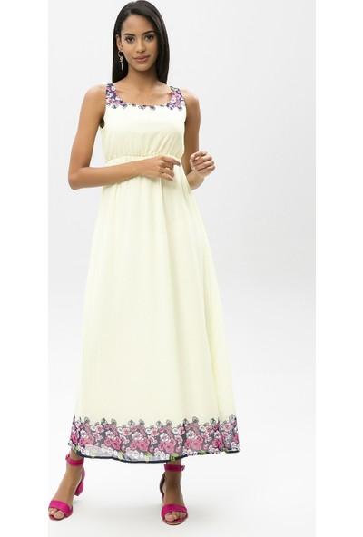 New Laviva Sarı Kadın Askılı Uzun Elbise
