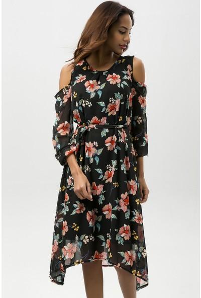 New Laviva Siyah Kadın Çiçek Desenli Asimetrik Şifon Elbise