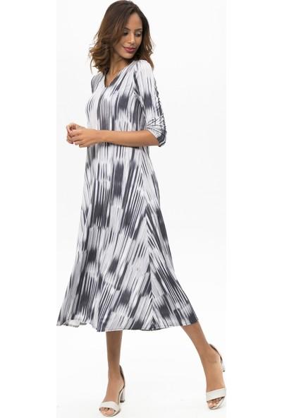 New Laviva Gri Kadın Desenli Maxi Elbise