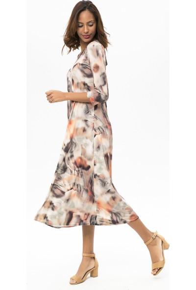 New Laviva Turuncu Kadın Desenli Maxi Elbise
