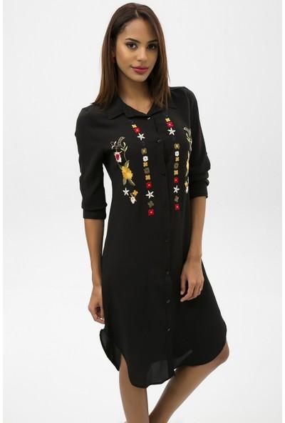 New Laviva Siyah Kadın İşlemeli Kısa Gömlek Elbise