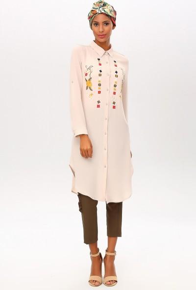 New Laviva Krem Kadın İşlemeli Kısa Gömlek Elbise