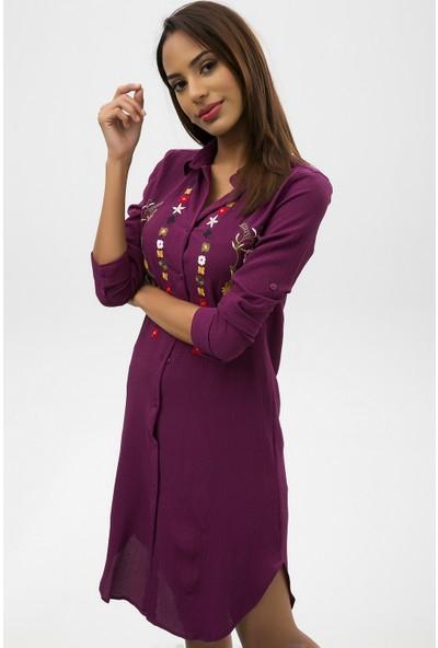 New Laviva Mor Kadın İşlemeli Kısa Gömlek Elbise